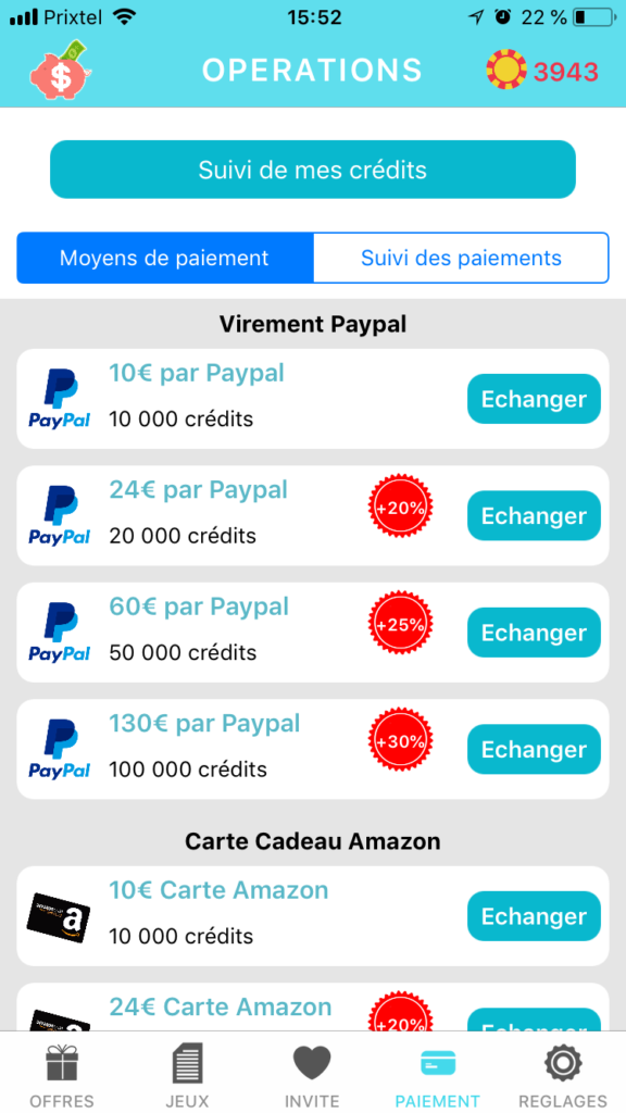 lucky cash application missions argent gratuit