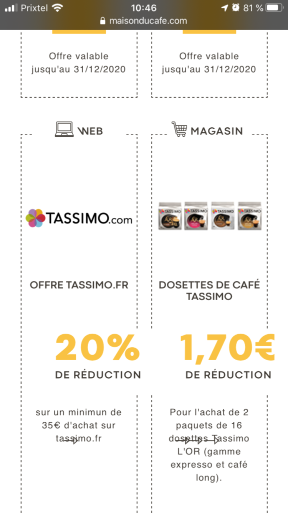bon de réduction l or maison du café promo tassimo