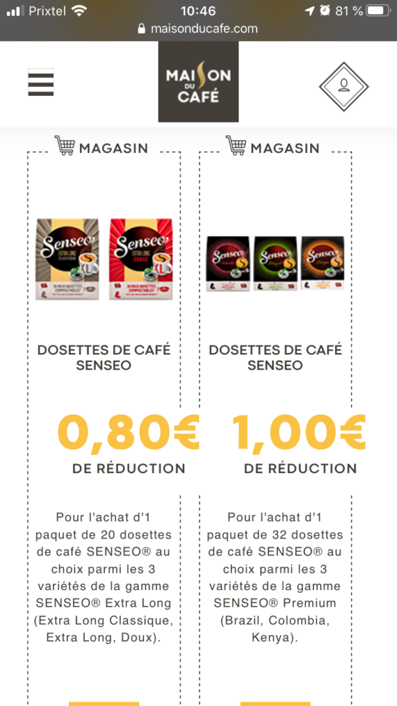 maison du cafe bons de reduction senseo